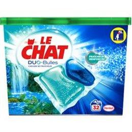 LE CHAT LESSIVE DUO-BULLES CASCADE DE FRAICHEUR X32 - 776g NOUVEAUTE